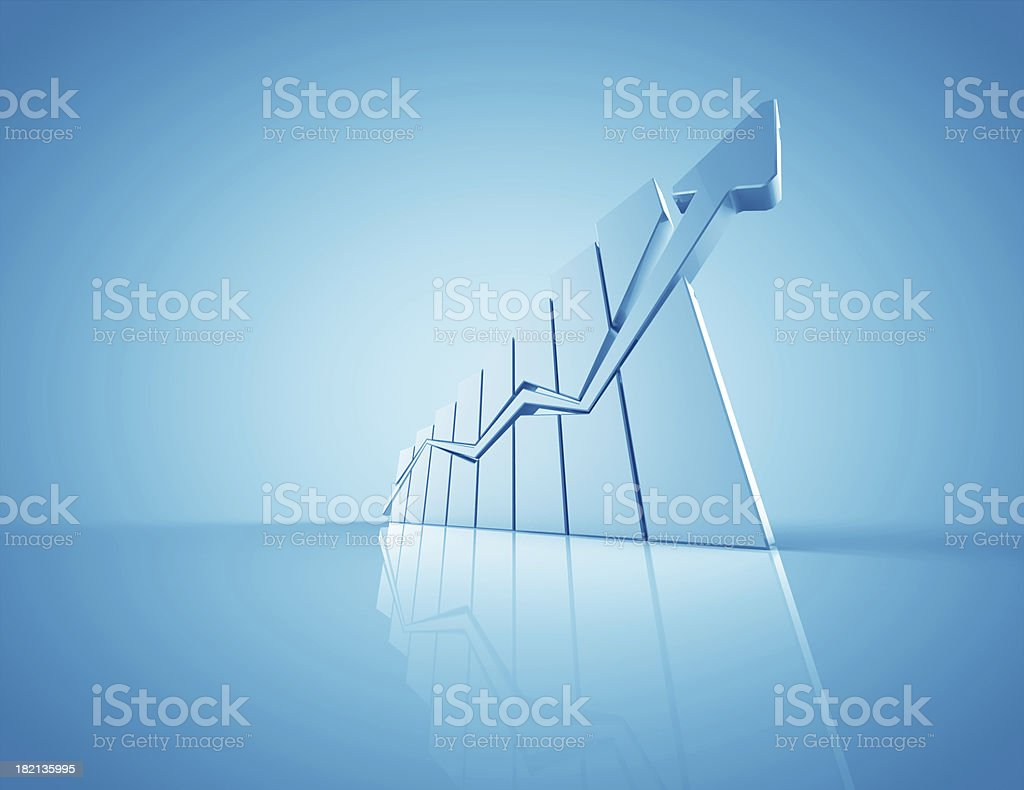 Business graph with 3D chart with upward arrow stock photo
