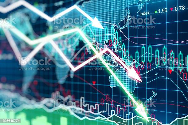Business Graph With Arrows Tending Downwards Stock Photo - Download Image Now