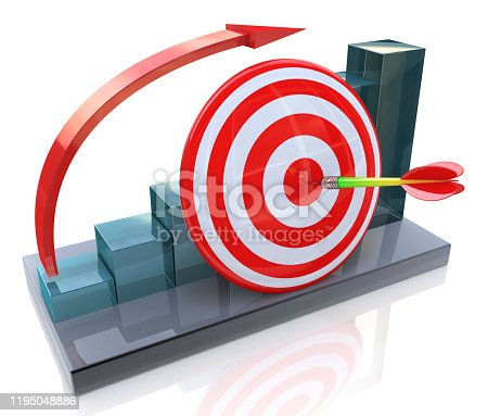 Business graph with rising arrow and red target in the design of information related to the business and success. 3d illustration