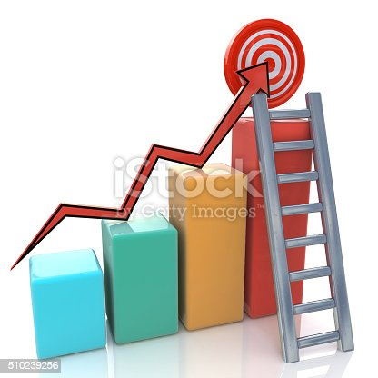 511722788 istock photo Business graph with rising arrow to target and ladder 510239256