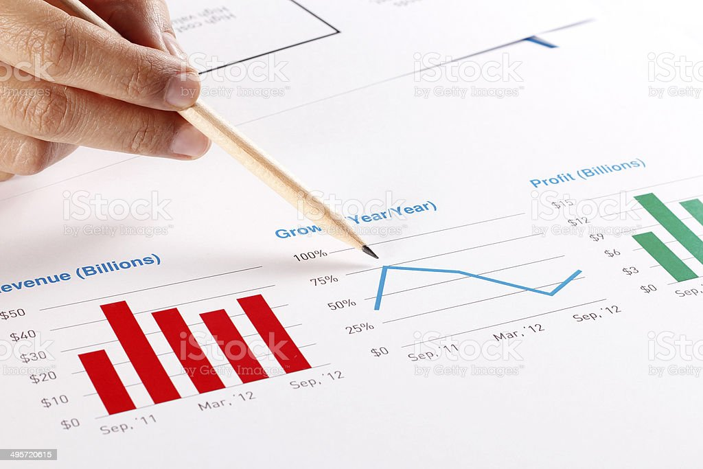 Business Graphs and Charts - Revenue-Growth-Profit stock photo