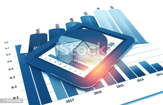 istock Business graphs and financial reports 1194624582