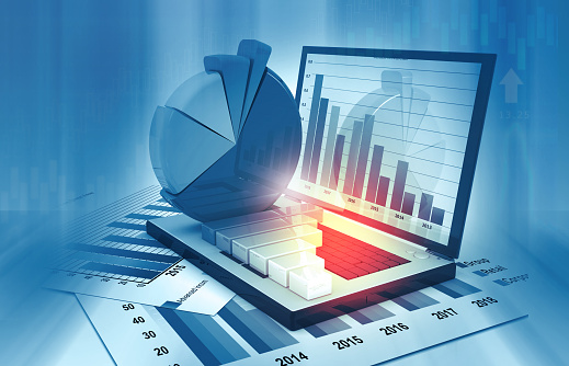 istock Business graphs and financial reports 1194624603