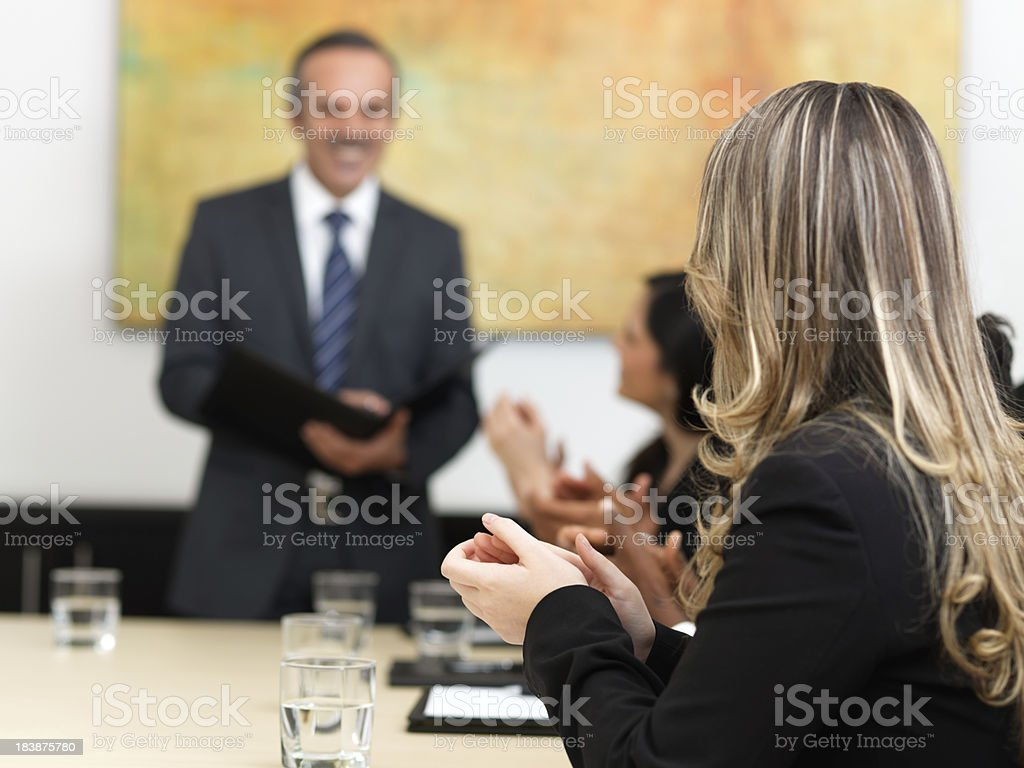 Business group clapping hands at the meeting royalty-free stock photo