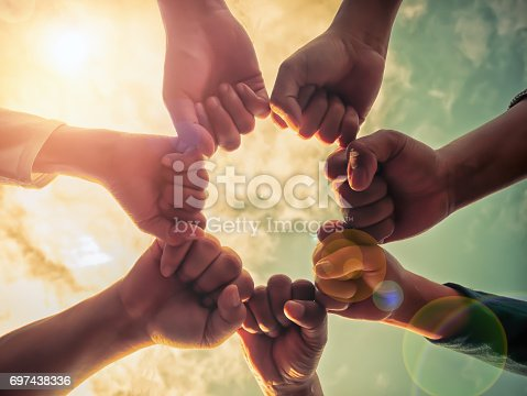 istock Business group with hands together, teamwork concepts 697438336