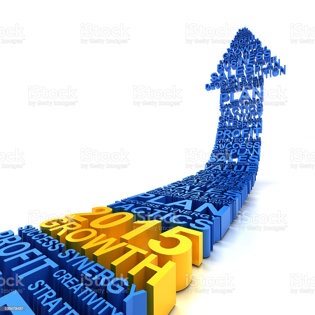 2015 business growth, 3d render stock photo