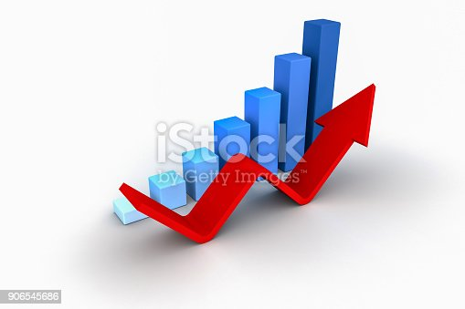 486678786 istock photo Business Growth Bar Graph Curve Illustration 906545686