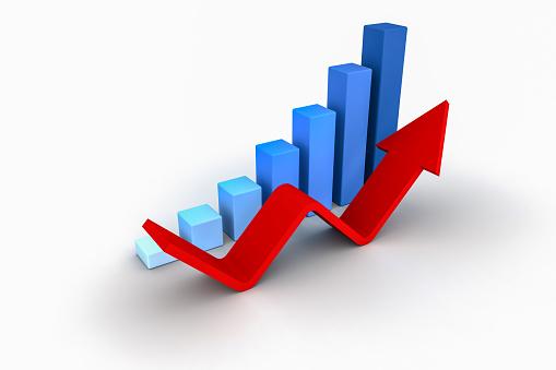 istock Business Growth Bar Graph Curve Illustration 906545686