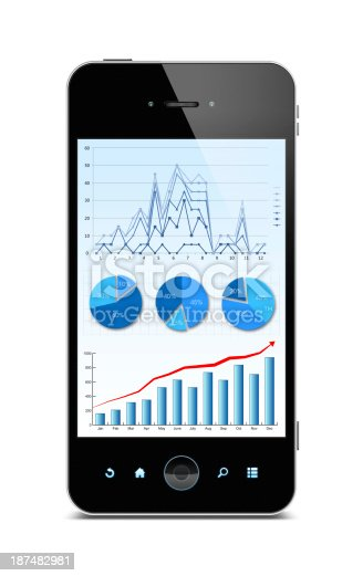 istock Business growth chart in Smart phone (Clipping path) isolated 187482981