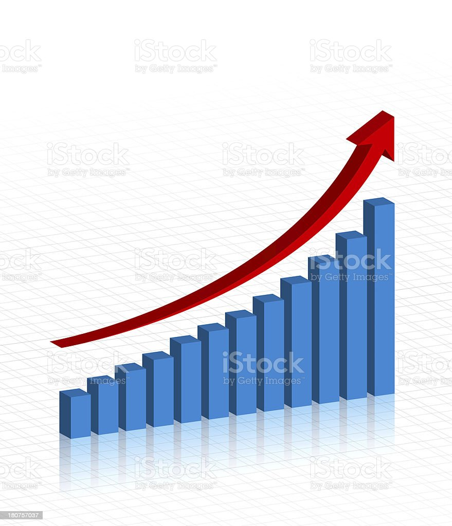 Business growth chart isolated on white backgrond stock photo