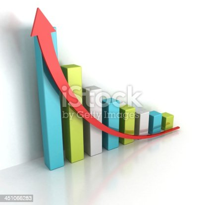 istock Business Growth Colorful Bar Diagram With Red Arrow Up 451066283