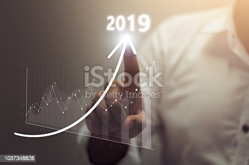 istock Business growth concept year 2019 1037348828