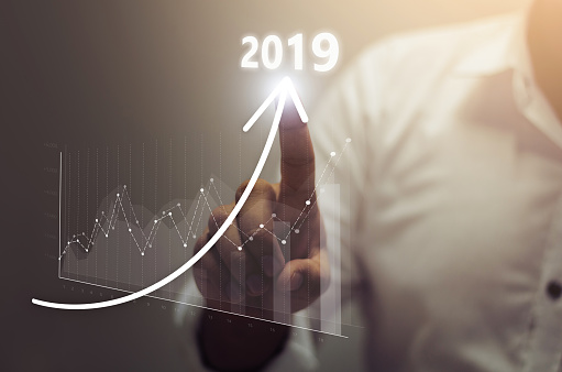 istock Business growth concept year 2019 1052912650