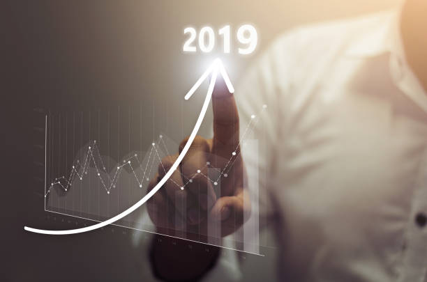 business growth concept year 2019 - graph stock photos and pictures