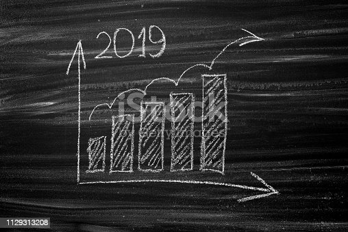 istock Business growth concept year 2019 1129313208