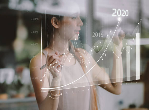 Business growth concept year 2020 stock photo