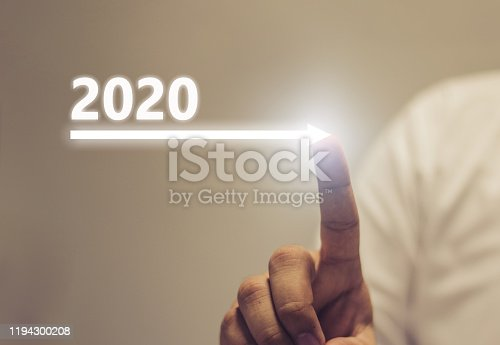 istock Business growth concept year 2020 1194300208