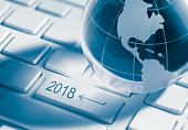 2018 key and global earth on enter Computer laptop Keyboard