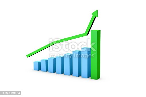1149620931istockphoto Business Growth Increasing Chart with Green Arrow 1150958184