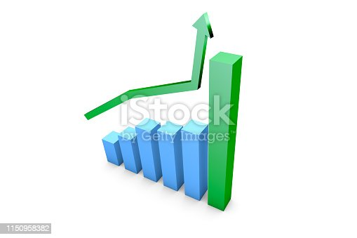 1149620931istockphoto Business Growth Increasing Chart with Green Arrow 1150958382