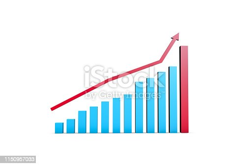 1149618149 istock photo Business Growth Increasing Chart with Red Arrow 1150957033