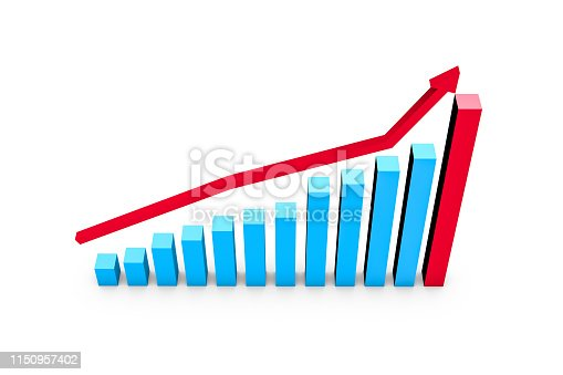 istock Business Growth Increasing Chart with Red Arrow 1150957402