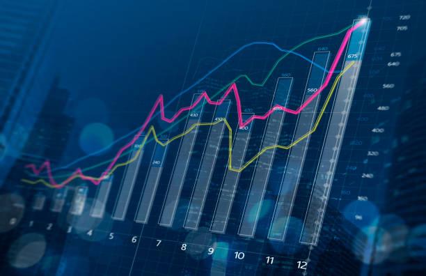 wachstum, fortschritt und erfolg geschäftskonzept. finanzielle balkendiagramm und wachsende grafiken mit schärfentiefe auf dunkelblauem hintergrund. - geschäftsstrategie stock-fotos und bilder
