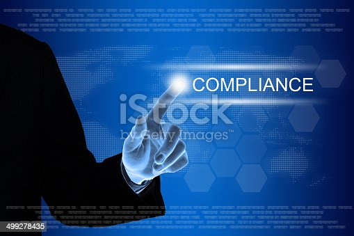 531925785 istock photo business hand clicking compliance button on touch screen 499278435