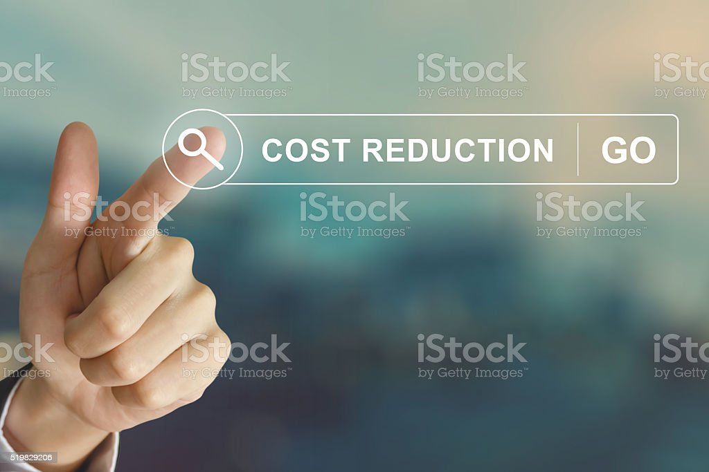 business hand clicking cost reduction button on search toolbar stock photo