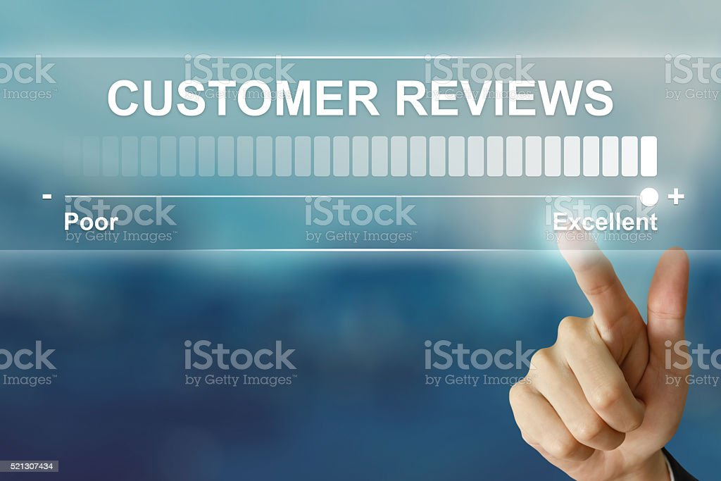 business hand clicking excellent customer reviews stock photo