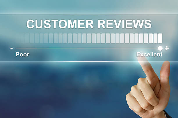 business hand clicking excellent customer reviews - testimonial stock photos and pictures