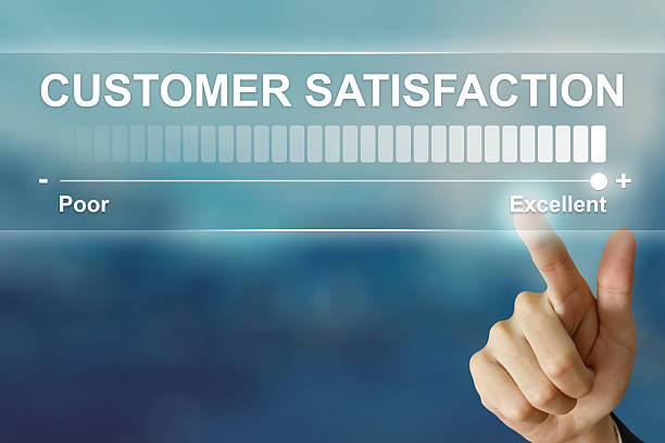 business hand clicking excellent customer satisfaction stock photo