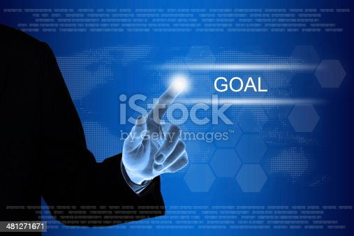 istock business hand clicking goal button on touch screen 481271671