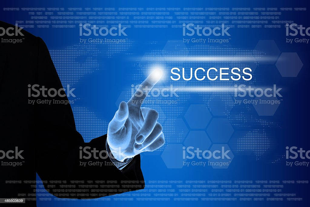 business hand clicking success button on touch screen stock photo