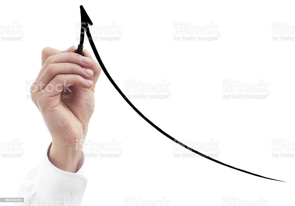 business hand drawing graph royalty-free stock photo