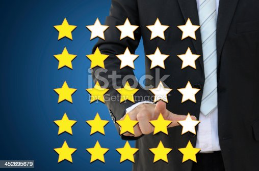 184640907istockphoto Business hand pointing performance evaluation in rating concept 452695679