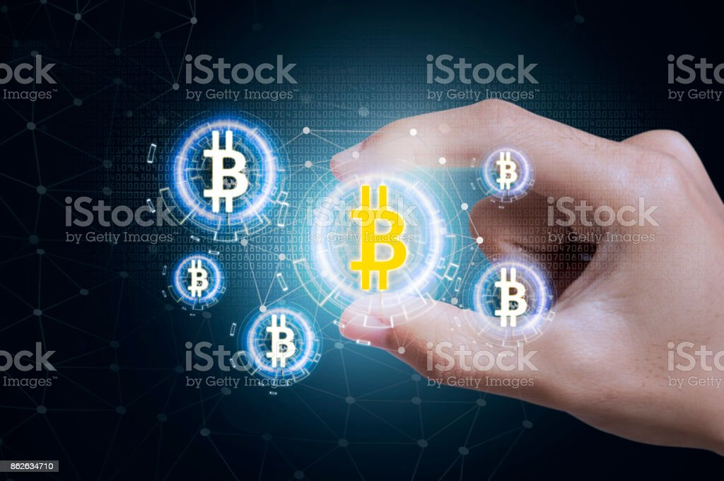 Business hand press offer bitcoin stock on tablet. concept investment finance digital technology. - fotografia de stock
