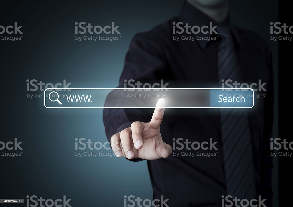 Business hand pressing Search button, Internet technology concept stock photo