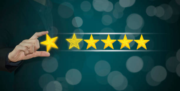 business hand select yellow marker on five star rating. concept customer service excellent. - testimonial stock photos and pictures