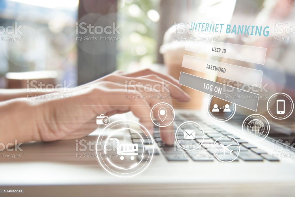business hand using computer internet banking. can used for cover page presentation and web banner. e-commerce internet technology concept. stock photo