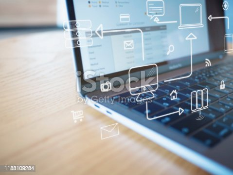 1155191162 istock photo Business hand working with computer and business strategy as concept 1188109284