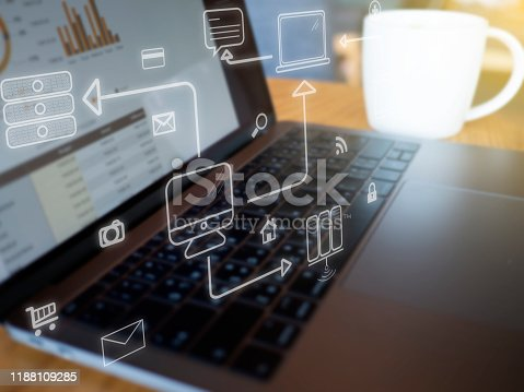 1155191162 istock photo Business hand working with computer and business strategy as concept 1188109285