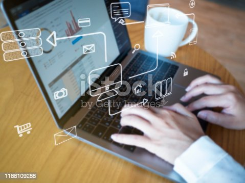 1155191162 istock photo Business hand working with computer and business strategy as concept 1188109288