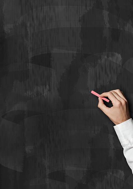 business hand schreiben mit rotem kreide auf der tafel (klicken sie hier, um weitere informationen) - kreide schriftzüge stock-fotos und bilder