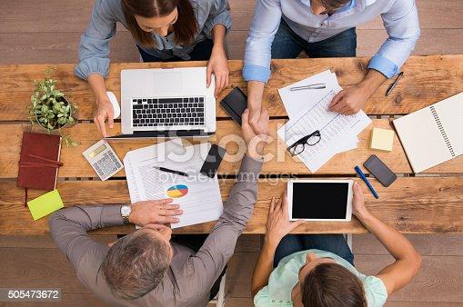 istock Business handshake at work 505473672