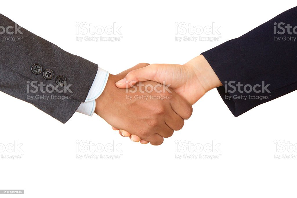 Business Handshake of unrecognized company stock photo
