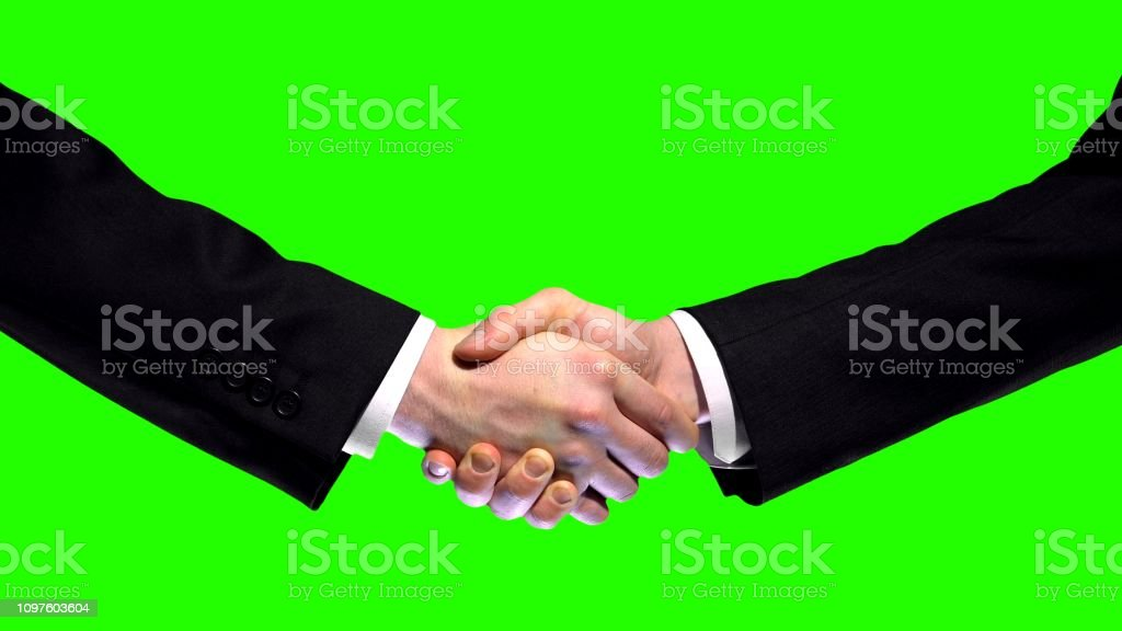 Business Handshake On Green Screen Background Partnership