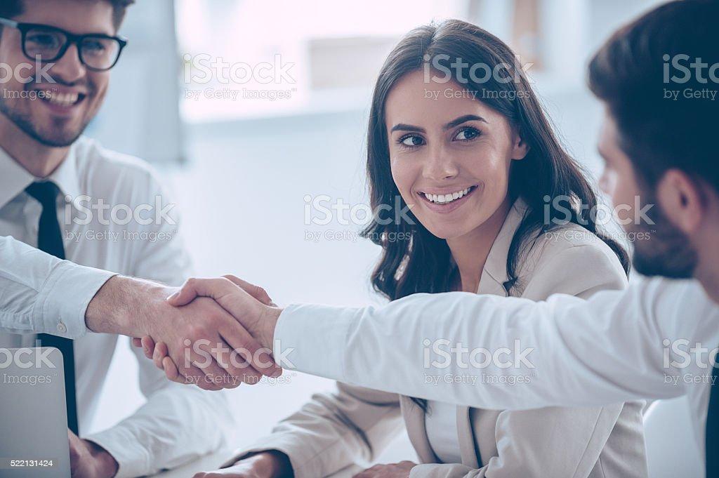 Business handshake. stock photo