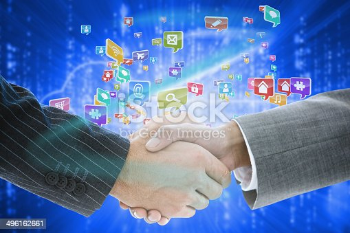 istock Business handshake with app icons 496162661