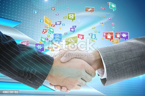 istock Business handshake with app icons 496238183